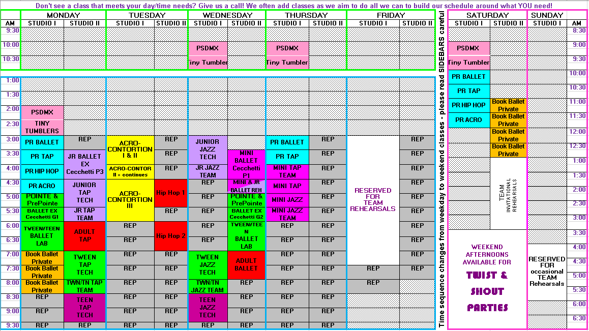 graphic about Printable Class Schedule titled Drop Cl Routine 2019-2020 A Dancers Desire
